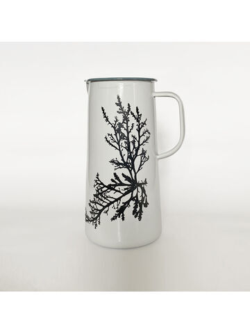 Seaweed Engraved Enamelware Jug 3 Pint Oyster Grey - Royal Fern Weed