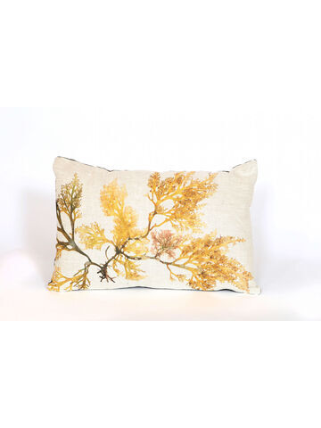 Seaweed Print Linen Oblong Cushion - Royal Fern Weed