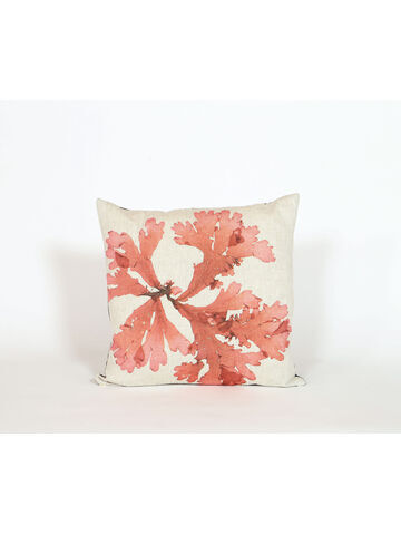 Seaweed Print Linen Square Cushion - Flat Tongue Weed