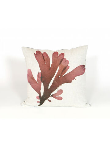 Seaweed Print Linen Square Cushion - Dulse