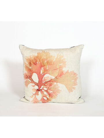 Seaweed Print Linen Square Cushion - Beautiful Fan Weed