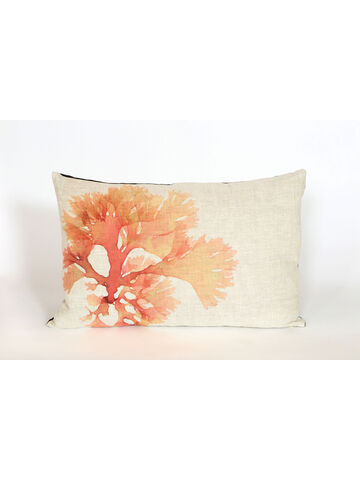Seaweed Print Linen Oblong Cushion - Beautiful Fan Weed