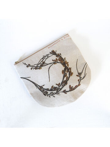 Seaweed printed linen zipped pouch / purse - Egg Wrack