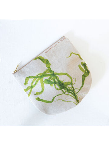 Seaweed printed linen zipped pouch / purse - Gut Weed