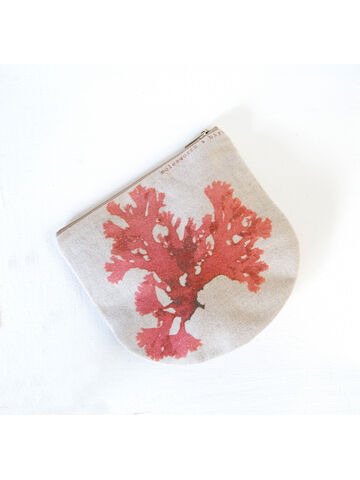 Seaweed printed linen zipped pouch / purse - Beautiful Fan Weed