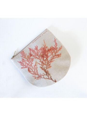 Seaweed printed linen zipped pouch / purse - Red Comb Weed