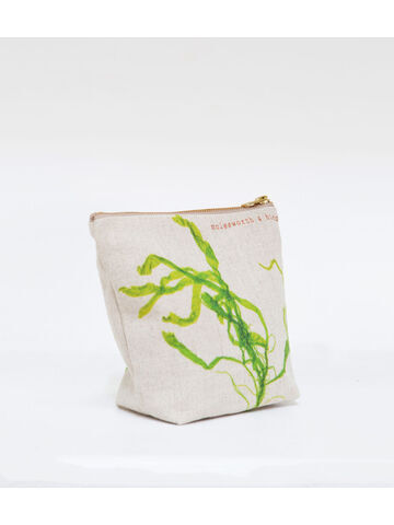 Seaweed printed linen zipped small bag - Gut Weed