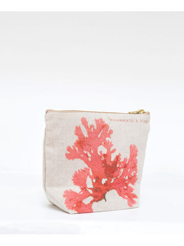 Seaweed printed linen zipped small bag - Beautiful Fan Weed