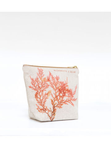Seaweed printed linen zipped small bag - Red Comb Weed