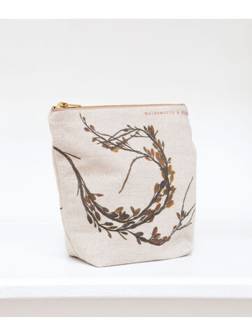 Seaweed printed linen zipped medium bag - Egg Wrack