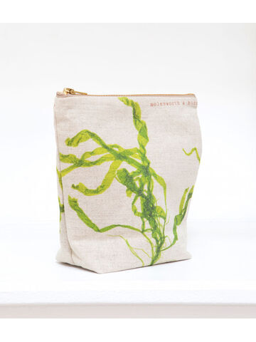Seaweed printed linen zipped medium bag - Gut Weed