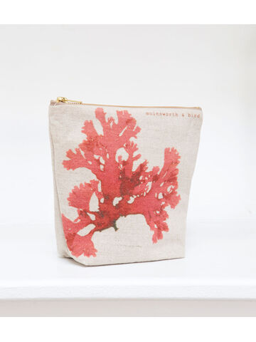 Seaweed printed linen zipped medium bag - Beautiful Fan Weed