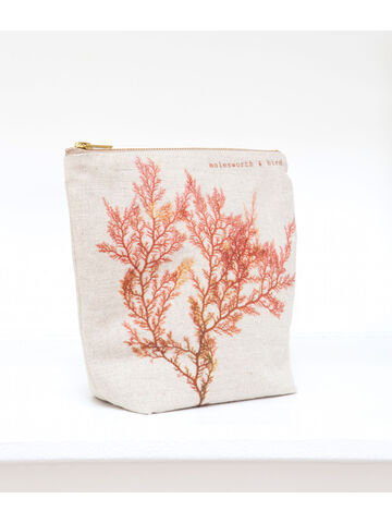 Seaweed printed linen zipped medium bag - Red Comb Weed