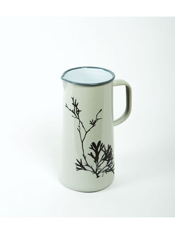 Seaweed Engraved Enamel 3 Pint Jug Oyster Grey - Bladder Wrack