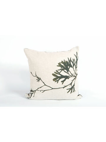 Seaweed Print Linen Square Cushion - Bladder Wrack B