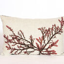Seaweed Print Linen Oblong Cushion - Purple Royal Fern Weed additional 1