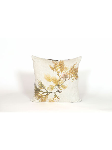 Seaweed Print Linen Square Cushion - Royal Fern Weed
