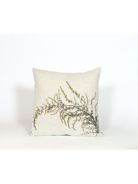 Seaweed Print Linen Square Cushion - Wireweed