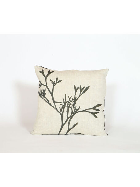 Seaweed Print Linen Square Cushion - Bladder Wrack A
