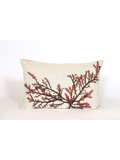 Seaweed Print Linen Oblong Cushion - Purple Royal Fern Weed