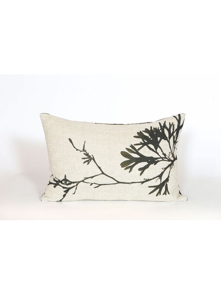 Seaweed Print Linen Oblong Cushion - Bladder Wrack B