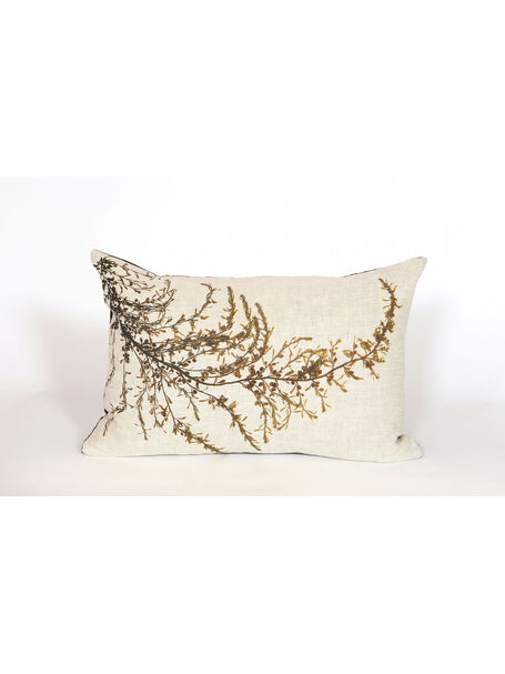 Seaweed Print Linen Oblong Cushion - Wireweed